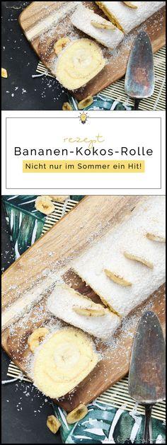 Einfaches Tortenrezept: Bananen-Kokos-Biskuitrolle mit Puddingcreme - Nicht nur im Sommer ein Hit!   Filizity.com   Food-Blog aus dem Rheinland #torte #kuchen #biskuit #bananaaaa