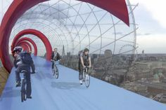 British architect Lord Norman Foster has revealed his plans for a network of elevated bike paths in London that would be suspended above the city's railway lines.