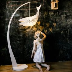Elegant Wooden Whale Lamp