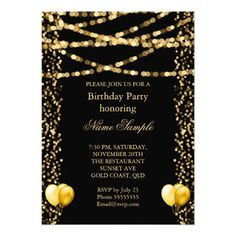 Glitter Faux Foil Gold Balloons Black Birthday Card