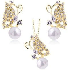 CS39 18K White Gold Plated Butterfly Pearl Necklace/Earrings AU Crystal Set Fashion Jewelry B13