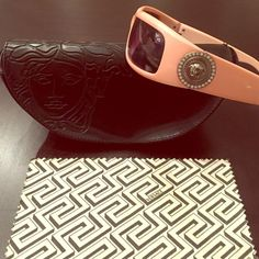 Authentic Versace sunglasses Pink authentic Versace sunglasses; comes with Versace case and cleaning cloth; no imperfections on sunglasses- completely clean;  case is slightly scuffed Versace Accessories Sunglasses