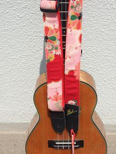 via Etsy. Ukulele Straps, Japanese Fabric, Black Linen, Hand Sewing, Jazz, Guitar, Random, Mini, Red