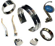 compilatie sieraden gemaakt in 3 lessen bij edelsmid Marja Schilt. www.marjaschilt.nl