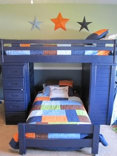 painted bunkbed - boys room color ideas