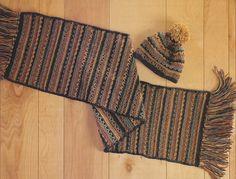 👒 👱🏼 👒 Vindima 1990 listrado Cachecol Conjunto Crochê -  /  👒 👱🏼 👒 Vintage 1990's Striped Scarf Set Crocheted -