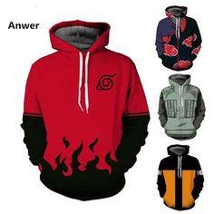 New Anime Naruto Hoodies Naruto Uzumaki Cartoon Sweatshirts Akatsuki Zipper Jacket Cosplay Outfits, Anime Outfits, Naruto Merchandise, Naruto Clothing, Kakashi, Gaara, Naruto Shippuden, Otaku, Cool Hoodies