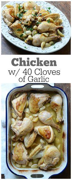 Chicken with 40 Cloves of Garlic recipe - from RecipeGirl.com