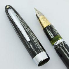 Sheaffer Lifetime Crest Fountain Pen - Grey Striated, Lever Fill, Fine Triumph Nib (Excellent +, Restored) | Vintage Fountain Pens - Parker, Sheaffer, Waterman