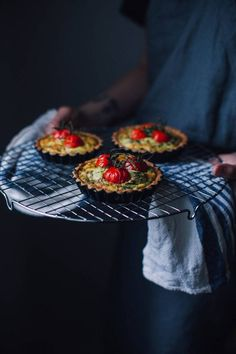 Gluten-free Goat-cheese Quiche with Cherry Tomatoes