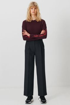 Dark grey wool suiting trousers designed with wide straight legs. Shannen features press creases, side pockets, belt loops and two back welt pockets. Trousers, Pants, Welt Pocket, Wood Wood, Wool, Legs, December, Fashion, Trouser Pants