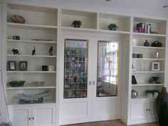 Interior French Doors For Sale Large Bookshelves, Built In Bookcase, House With Porch, Cozy House, External Hardwood Doors, Divider Cabinet, Home Library Design, Sliding Door Design, Living Room Cabinets
