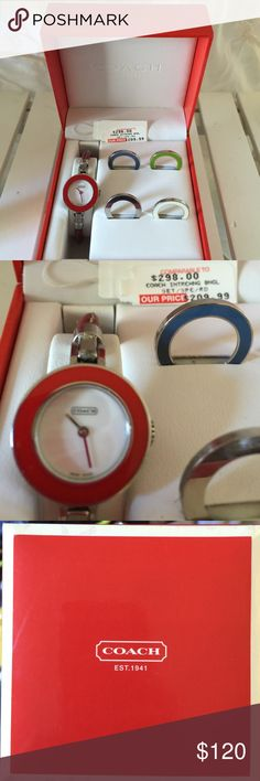 Coach watch with interchangeable face colors! The silver is scratched but usable. The other colors were never used in perfect condition. The watch fit a small wrist as my daughter lost a link on the back. See in pic. Beautiful set!❤️ Coach Accessories Watches