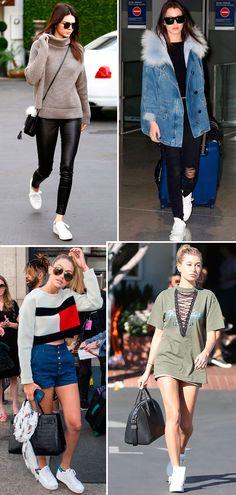 Street style look Gigi e Bella Hadid, Kendall Jenner e Hailey Baldwin usando tênis branco.