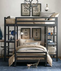 industrial loft study bunk. multilevel sleep and study loft. a space-saver in sturdy steel with a vintage industrial vibe.