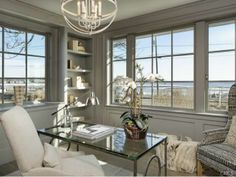 A white hot home office with views of the Long Island Sound. Westport, CT Coldwell Banker Residential Brokerage $8,250,000