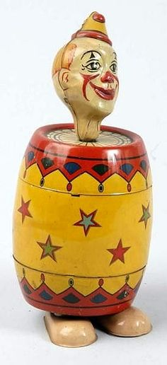 Tin Litho Chein Clown in Barrel Wind-Up Toy