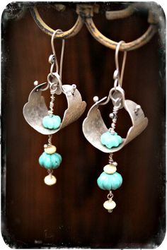Trappings Earrings- Turquoise and Jade Fandangles via Etsy