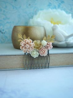 Bridal Comb, Hair Comb Wedding, Beautiful Collage, Beautiful Flowers, Special Day, Special Gifts, Bridal Flowers, Dusty Pink, Wedding Hairstyles