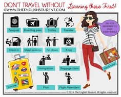 Travel vocabularies, preparing for travel, the english student website, the english student airport vocabularies English Resources, English Tips, English Class, English Words, English Lessons, English Grammar, Teaching English, Learn English, English Language