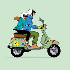 Scooter Peugeot, Scooters Vespa, Kaws Iphone Wallpaper, Cartoon Wallpaper, Cartoon Art, Cartoon Characters, Vespa Illustration, Scooter Drawing, Eagle Drawing