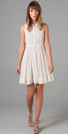 Haute Hippie Embroidered Button Down Dress: I really like this shape. I would be afraid to wear something white like this outside tho... which is where I always want to be.