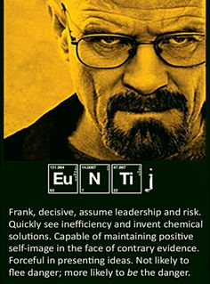 The ENTJ personality, as seen from a chemistry viewpoint.
