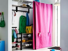 The illusion of order  Sometimes the fastest way to get things looking in order is to keep them hidden. A drawn, custom-made curtain on a simple wire runner can make everything look neat without you actually having to tidy up.  (IKEA)