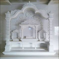 Ganpati Murti Kala udyog: Home small temple marble stone making size p. Pooja Room Door Design, Ceiling Design Living Room, Home Room Design, Home Interior Design, House Design, Wall Design, Temple Room, Home Temple, Jain Temple