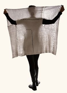 Inspiration - basic rectangle design could be adapted for a crochet cardigan/wrap. Looks like it would create a shawl collar.