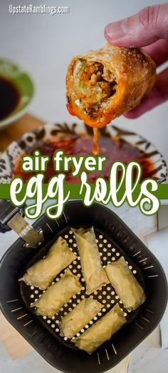 egg rolls New air fryer? Try this fun recipe! Make crispy homemade egg rolls in an air fryer. It is easy to make air fryer egg rolls at home without the mess and hassle of deep frying. Air Frier Recipes, Air Fryer Oven Recipes, Air Fryer Dinner Recipes, Egg Recipes, Cooking Recipes, Cooking Tips, Food Tips, Cabbage Recipes, Snacks Recipes
