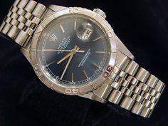 Rolex-Datejust-Mens-Turn-O-Graph-Thunderbird-Stainless-Steel-Watch-Blue-16264