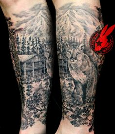 22e3ee2c1 Mountain Forest Woods Nature Scene Lasson Lion Cougar Cabin Realistic  Portrait Cat Tattoo by Jackie Rabbit