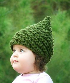 Hand-knit gnome hats for babies from Etsy