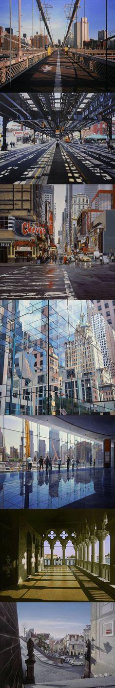 【这不是摄影,这是手绘作品】来自美国画家Nathan Walsh的城市风景拟真绘画,他擅长利用光与影的技巧来营造出逼真的场景,简直无懈可击。 (组图)