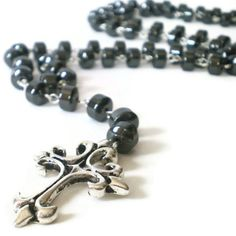 hematite necklace silver cross pendant dark grey by jcudesigns, £12.00