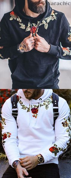 Shop Now>>Fashion Mens Floral Embroidery Sweatshirts Hoodie Cool Outfits For Men, Casual Outfits, Mens Fashion Wear, Mens Fashion Hoodies, Men's Fashion, Designer Jackets For Men, Mens Outdoor Clothing, Moda Casual, Gentleman Style