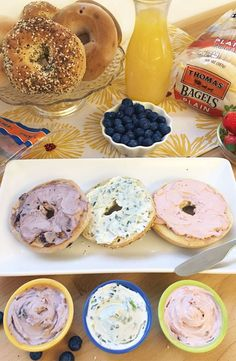 Create-Your-Own Bagel Bar: Gather 'round and get creative with your favorite flavors of Thomas' Bagels and a variety of spreads to satisfy any craving.