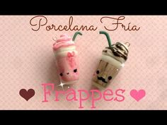 how to: kawaii frappucino charms Cute Polymer Clay, Cute Clay, Polymer Clay Miniatures, Diy Clay, Porcelain Clay, Cold Porcelain, Free Starbucks Drink, Bottle Necklace, Amor