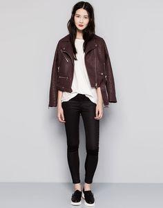 Pull&Bear - femme - pantalons et bermudas - röhrenhose im bikerstil - noir - 09681305-I2014