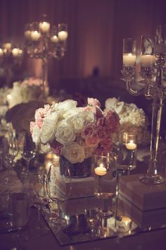 Pink and White Rose Centerpiece   photography by http://www.leighmillerphotography.com/
