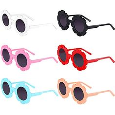 4a142f8ed5 6 Pares de Gafas de Sol de Niños Gafas Decorativas en Forma de Flor Redondas  #