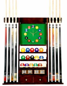 8 Pool - Billiard Cue Rack With Clock Mahogany Finish