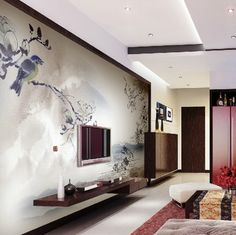 Modern Wall Mounted with Entertainment Unit in Modern Family Room Design Ideas Beautiful Wallpaper for Living Room