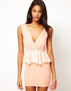 ASOS Wrap Chiffon Peplum Dress. This one looks like it wouldn't make my hips look EVEN bigger! Win.