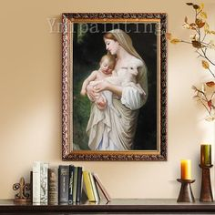 Mama Mary Jesus Christ Painting On Canvas art Wall Pictures Jesus Christ Virgin Mary Holding The Jesus Art hand painted original painting Bull Painting, Large Painting, Painting Frames, Jesus Christ Painting, Jesus Art, Catholic Art, Religious Art, Skyline Painting, Mama Mary
