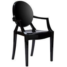 Burton Ghost Arm Chair In Black | Modern Dining Chair by EdgeMod at Contemporary Modern Furniture  Warehouse - 1