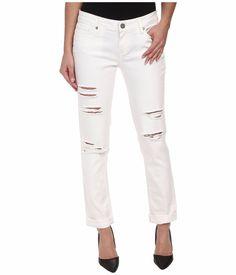 Paige Jimmy Skinny Boyfriend in Blanca White Destructed Women's Jeans Size 25 #Paige #SkinnySkinnyBoyfriendSlim