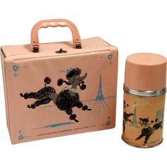 Pink Poodle lunchboxes and the 1960's definitely went hand-in-hand. This classic thermos and lunchbox combination features Gigi the poodle frolicking