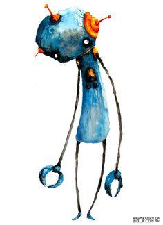 Blue Robot Matte Print by WednesdayWolf on Etsy Arte Robot, Robot Art, Robots, Robot Tattoo, Day Of The Dead Skull, Robot Concept Art, Children's Book Illustration, Fine Art Paper, Painting & Drawing